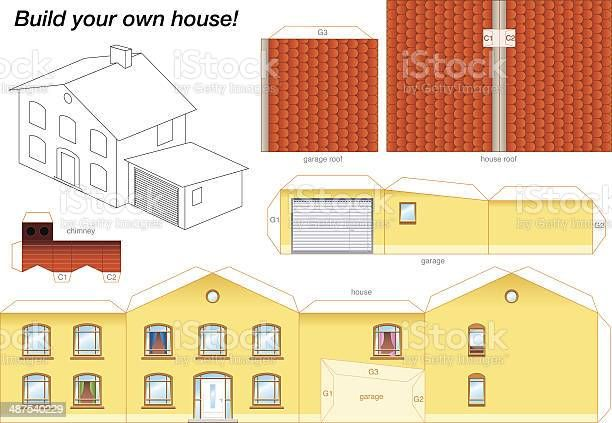 Paper Model Of A Yellow House With Garage Easy To Make Print It In 2021 Paper Models House Paper House Template Paper Models