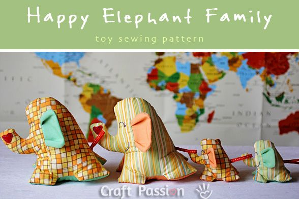 The Happy Elephant Family – Sewing Pattern...this is so cute!! they pull each other along!