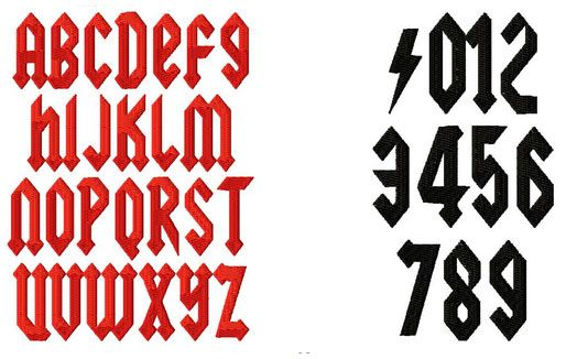 A124 - ACDC embroidery font Kabo Designs