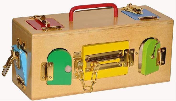 Infant Toddler - Practical Life EDUCATIONAL TOY: Box Lockbox, Wooden ...