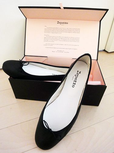 Repetto--a store in Paris that sells pointe shoes/tutus and has a beautiful line of ballet flats. Love these black ones. Classic.