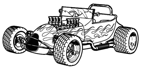 Naked Hood Hot Rod Cars Coloring