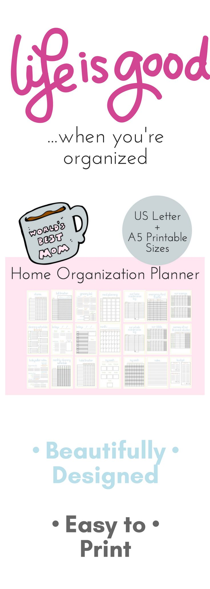 This mom planner is a great tool to get your home management under control. There's just something special about putting pen to paper and your home organization is closer than you think. Whether you use these printables to create a complete household binder or just print the pages you need for that day or week. This is THE step in the clear-the-chaos direction.