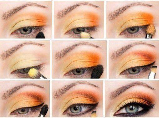 Spring Orange yellow eyeshadow tutorial