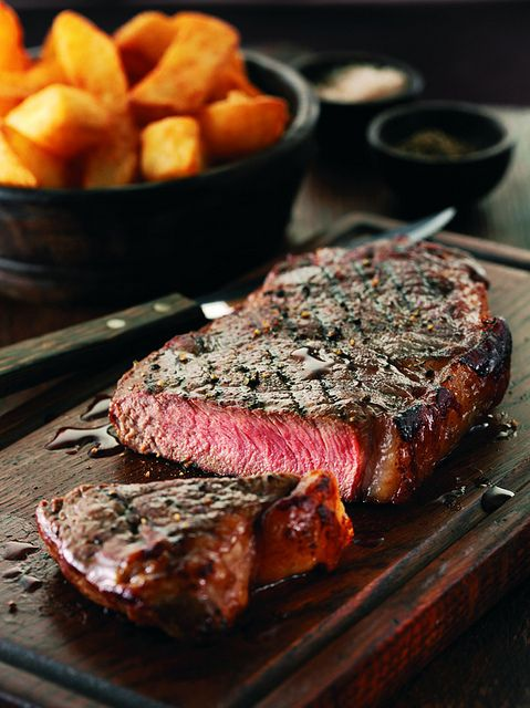 a perfectly cooked steak.