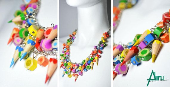 Rainbow necklace  colored pencil necklace pencil jewelry