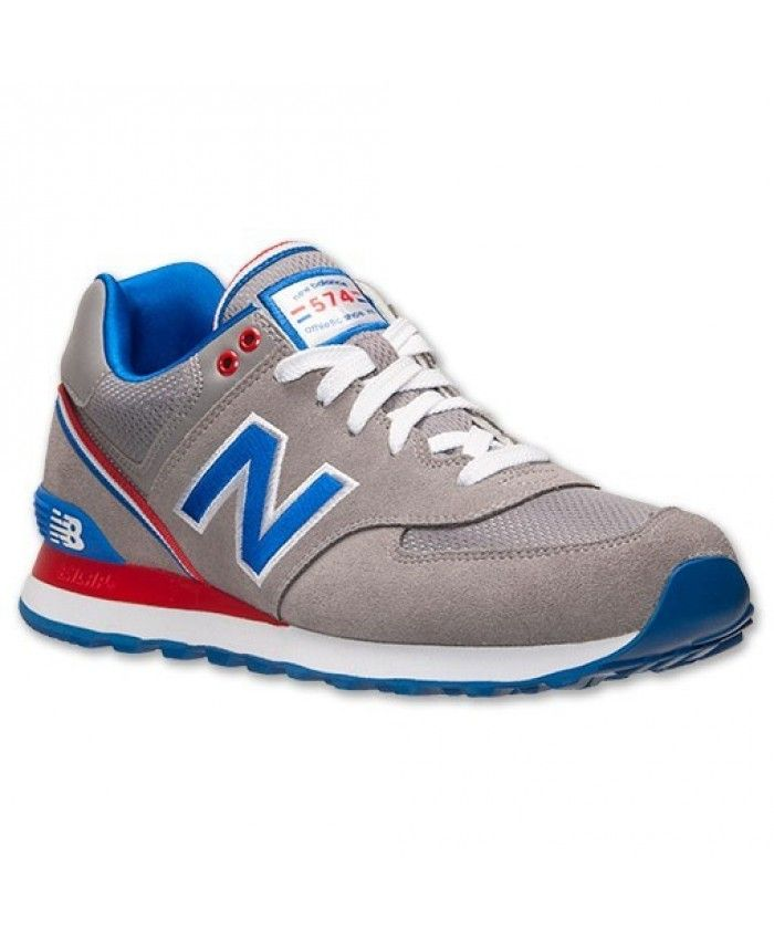 New Balance 574 Hombres Stadium Jacket Gris/Royal/Rojo ...