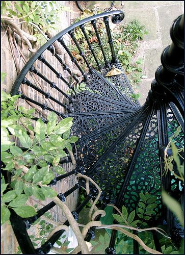 iron spiral stairs.