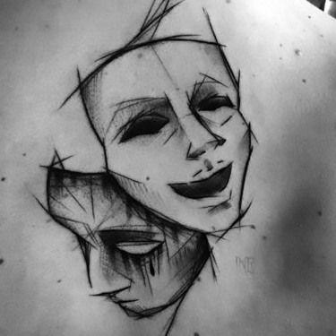 Sketch Style Mask Tattoo Idea
