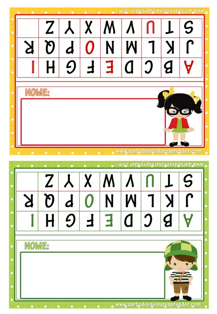 Crachás de mesa com tema: Turma do Chaves com alfabeto em letra bastão e cursiva   Para imprimir, clique sobre a imagem e salve quando ...