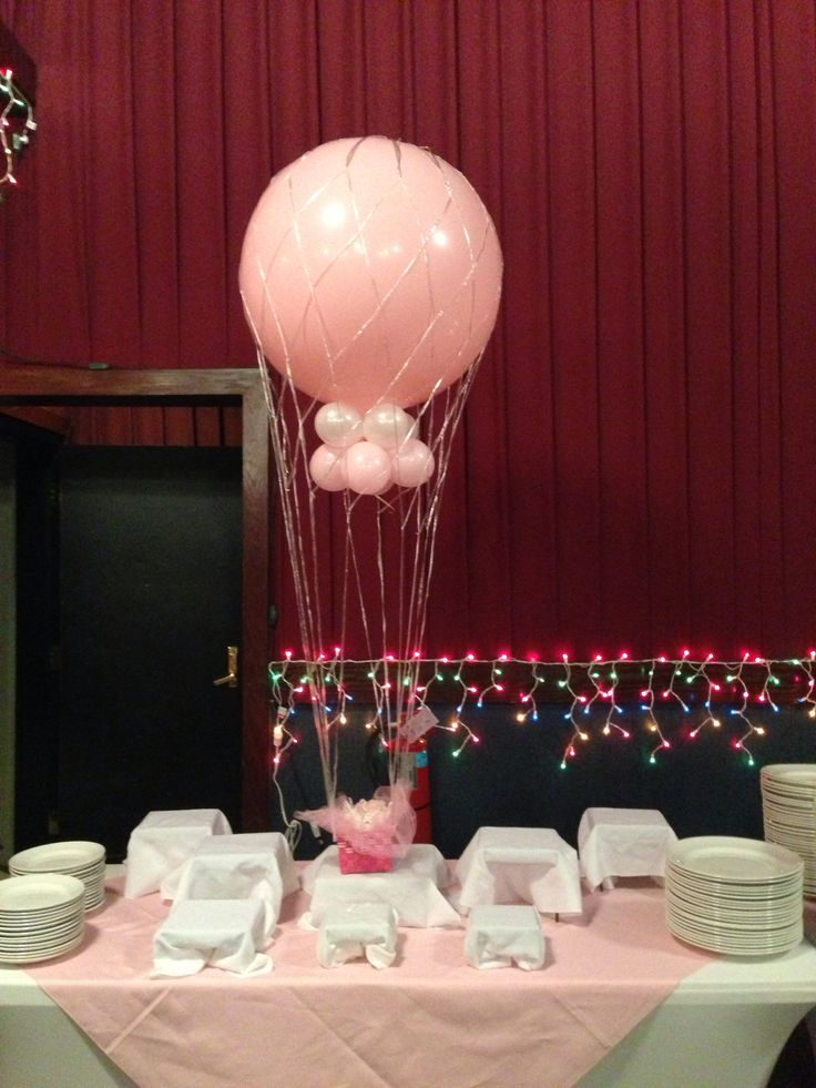 Its a girl baby shower hot air balloon centerpiece