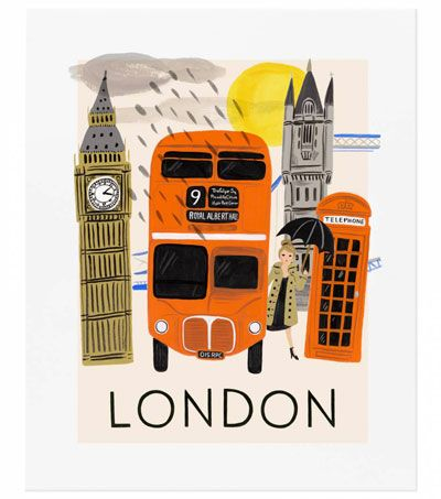 Affiche Londres illustrée par Anna Bond RIFLE PAPER & CO l www.little-home.fr