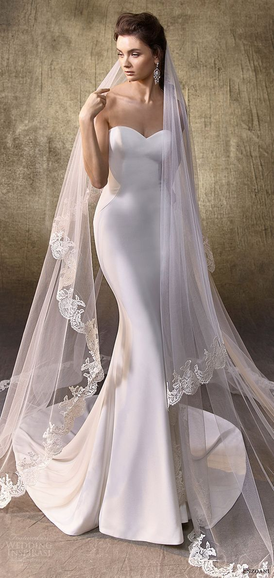 enzoani 2017 bridal (logan) strapless sweetheart unembellished mermaid wedding dress mv #weddingdress