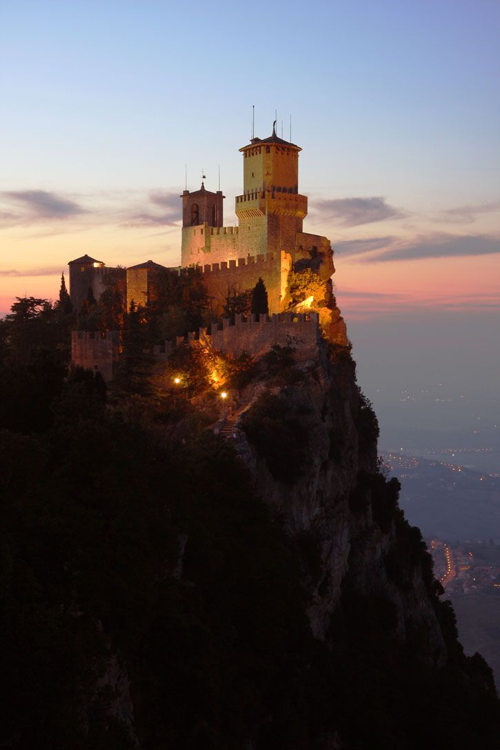 Rocca Della Guaita | San Marino, Italy Consisting of three towers, this magnificent castle overlooks the Italian city of San Marino. Though it has gone through many changes throughout history, parts of the castle date back to the 11th century. Its grounds includes both a watch tower and a bell tower, St. Barbara's Chapel, and a fortress which served as a prison.