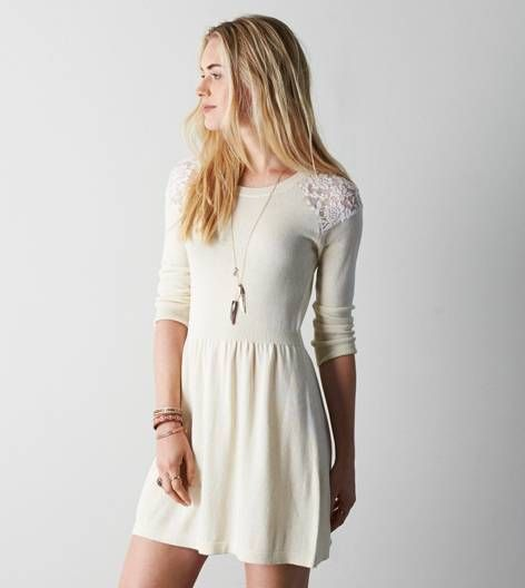 AEO Lace Shoulder Sweater Dress, Cream | American Eagle Outfitters