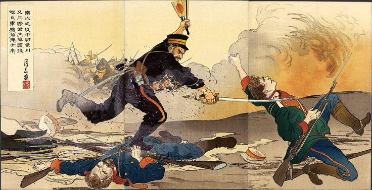 """In the Battle of Nanshan, Lieutenant Shibakawa Matasaburō Led His Men Holding up a Rising Sun War Fan"" by Getsuzō, 1904 [2000.448] Sharf Collection, Museum of Fine Arts, Boston"