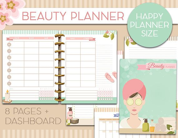 Beauty Planner Happy planner printable inserts skincare