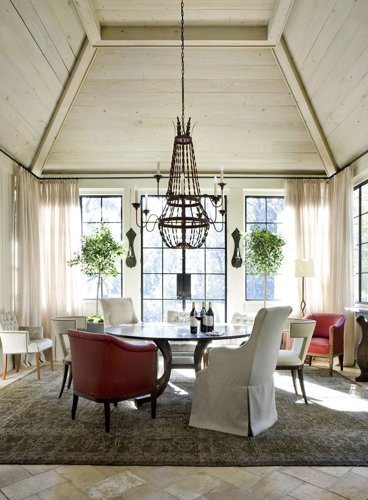 In The Dining Room A Tufted Madison By Hickory Chair And Scoop Back Jacob Chairs Nancy Corzine Are Classic Cloth Fabrics Angelo Chandelier Is