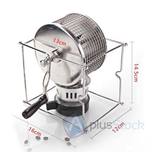 NEW-Manual-Stainless-Steel-#Coffee -Bean- #Roaster -Machine-Hand-Use-Maker-W-Burner