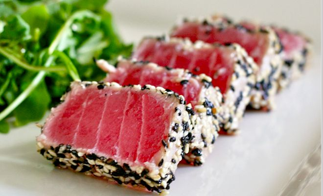 Seared Ahi Tuna Steak with Wasabi Sauce!  Light, protein packed & Delicious. #tuna #protein