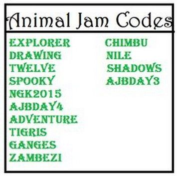 Animal jam list of codes