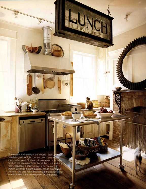 Vintage Industrial...love this kitchen. Reminds me of the Victorian kitchen at The Biltmore in Asheville, NC. Really fun to check it out if you can make the visit.