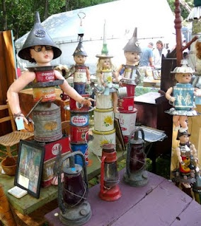 The Brimfield Antique Show outside of Boston is the biggest most amazing show I've ever been to. It covered 21 farmers fields with over 6000 sellers.  You can see more photos on my blog but I loved these Tin Lizzie Dolls!