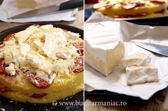 Mamaliga la cuptor cu carnat si brie ~ Baked polenta with sausage and brie cheese
