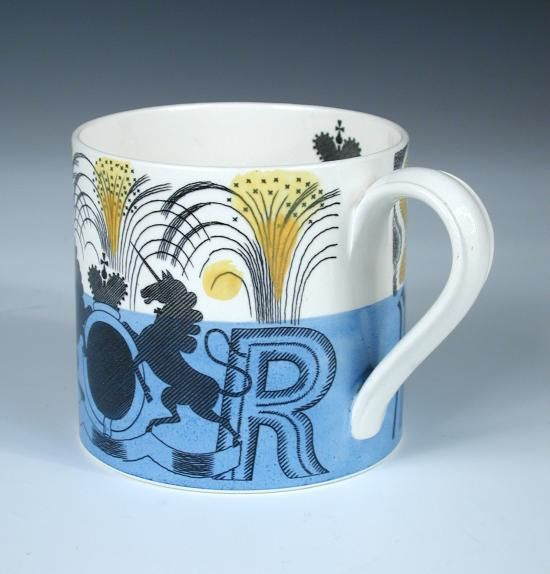 Sale A300415 Lot 41  Eric Ravilious for Wedgwood, a George VI commemorative mug, designed 1937 to celebrate the coronation, printed marks h:10 w:15 cm