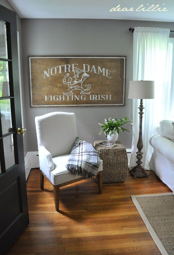 Dear Lillie Two Projects In Jason S Living Room A Restoration Hardware Style Bookshelf And Huge Notre Dame Sign