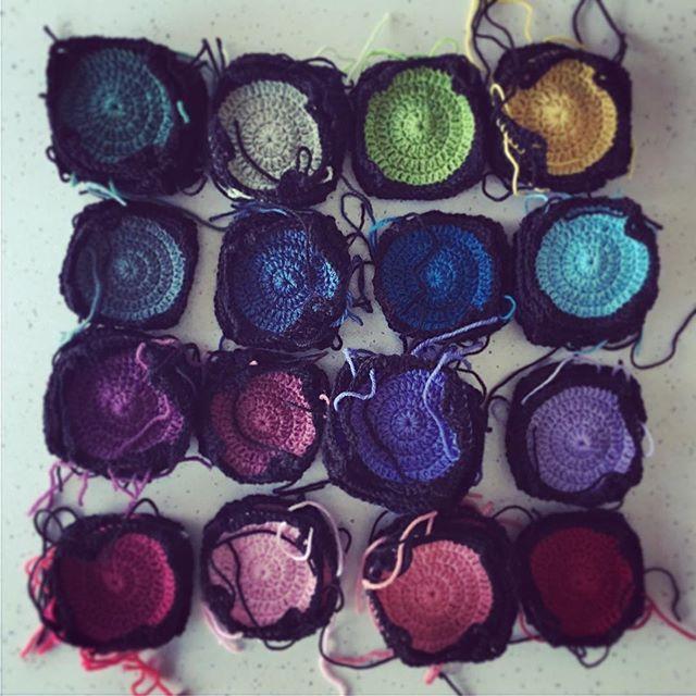 Rainbow squares.  .  .  .  #aydamade #rainbow #crochet #babyblanket #crochetblanket #grannysquares #grannycircles #moderncrochet #custommade #brightcolours #cotblanket #travellingcrochet #creativeoutlet #tasmania #tamarvalley #launceston