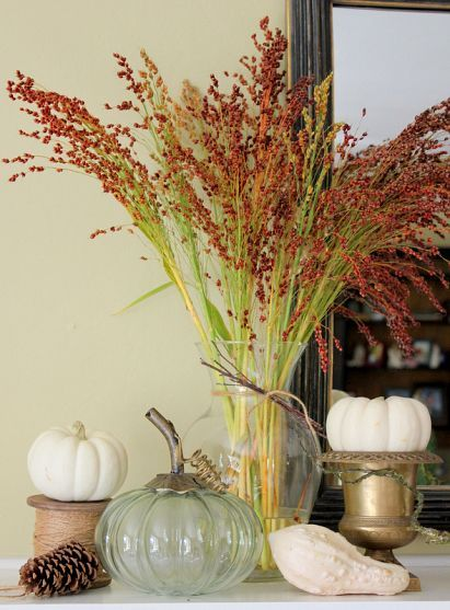simple, use what you have plus a few yard goods and gourds.  Love it.