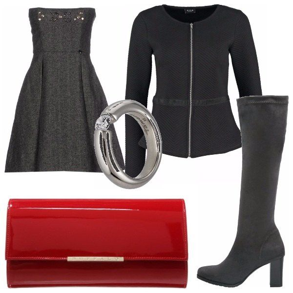 Outfit classico con stile e poco colore adatto ad una cerimonia, una serata elegante, senza spendere troppo. Formato da stivali grigi, abito a campana con strass, blazer nero, pochette rossa e anello argento con strass.