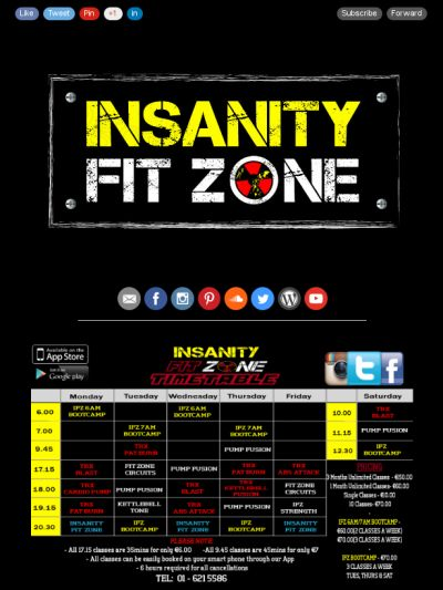 Check out this months news letter from Insanity Fit Zone full of tips and Recipes