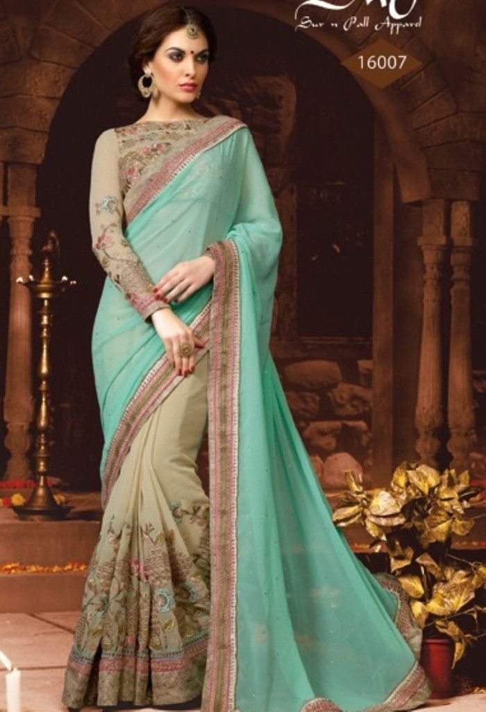 Green Georgette Designer Saree With Heavy Embroidery Work@ fashionsbyindia.com #designs #indian #fashion #womens #style #cloths #fashion #stylish #casual #fashionsbyindia #punjabi #suits #saree #wedding