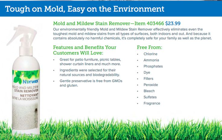 NEW NORWEX PRODUCTS Take a look at one of the NEW products being introduced in the upcoming 2017 Norwex Catalog.....Mold/Mildew Stain Remover....Great for patio furniture, picnic tables, shower curtain liners and much more. • Ingredients were selected for their natural sources and biodegradability. • Gentle preservative is free from GMOs and gluten.