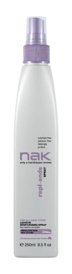 nak repl.ends spray / designed for all hair types #sulphatefree #parabenfree #detangle #protect