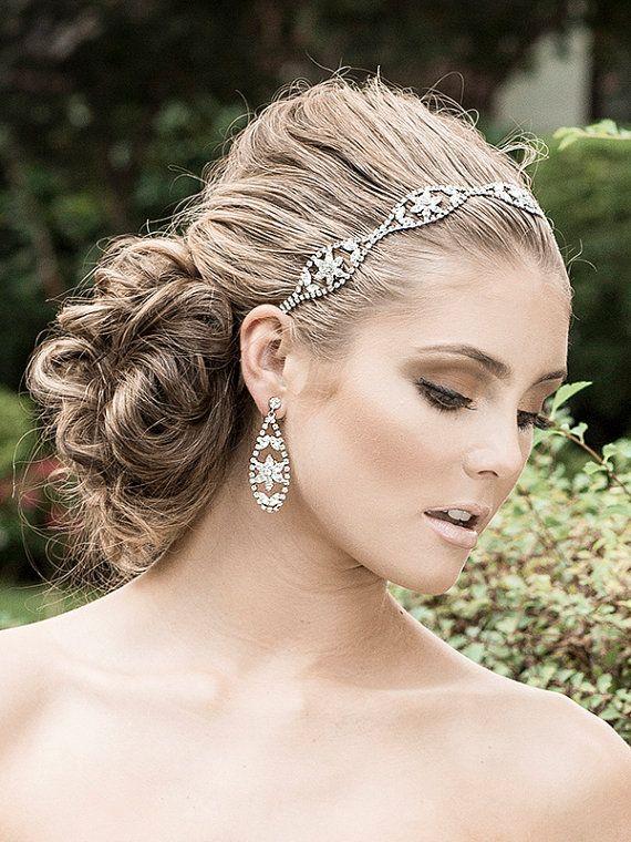 Etsy: Bridal Hair Accessories Wedding Headband Swarovski by ChrysanthInc $185.00