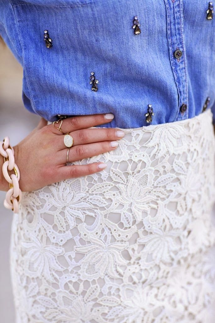 chambray shirt with white lace pencil skirt