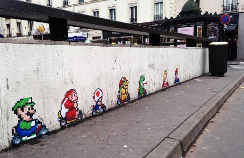 "Street art | Mural ""Super Mario"" (Boulogne-Billancourt, Paris, France) by memeIRL"