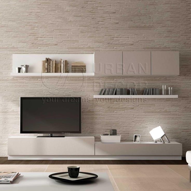 ide amnagement meuble tv pas couleur - Media Wall Design