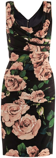 DOLCE & GABBANA Rose Print Ruched Dress - Lyst