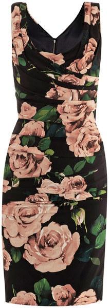 DOLCE & GABBANA Rose Print Ruched Dress - Lyst
