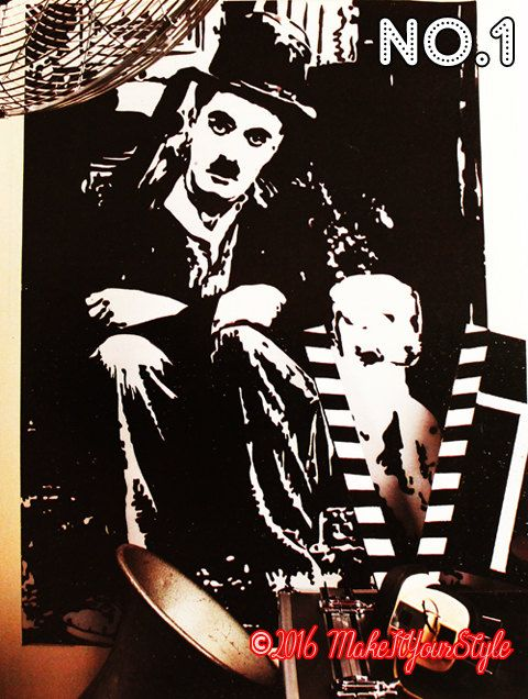 Black white Charlie Chaplin-the kid-silent movie-film-old classic movies-Laurel and Hardy's film Silk painting for Home/room decor/art deco - pinned by pin4etsy.com
