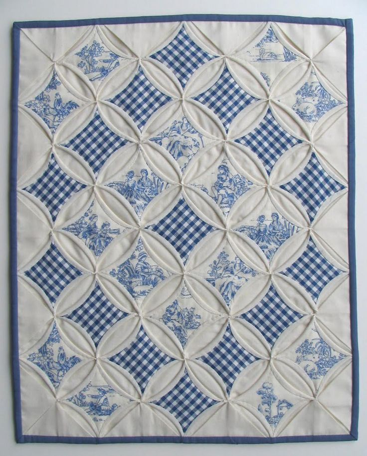Toile and gingham cathedral windows mini quilt by Miriam at Ms Sew and Sew (Ontario, Canada)