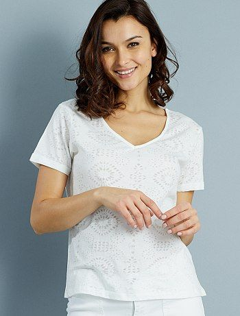 Tee-shirt en jersey dévoré                                                     blanc Femme   - Kiabi