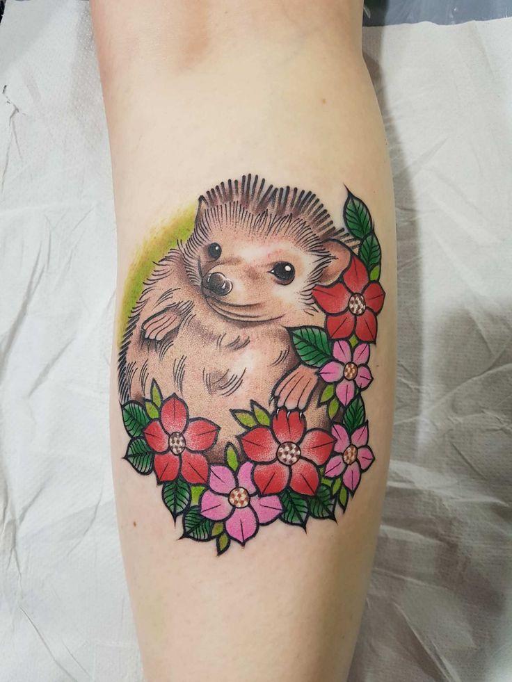 cute little hedgehog tattoo by Gracie Gosling