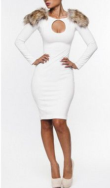 White Long Sleeve Midi Dress with Fur On Shoulder | Budget Sexy ...