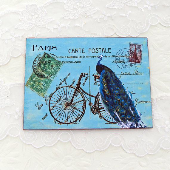 Bicycle Note cards Flat Peacock Paris by EnchantedQuilling on Etsy