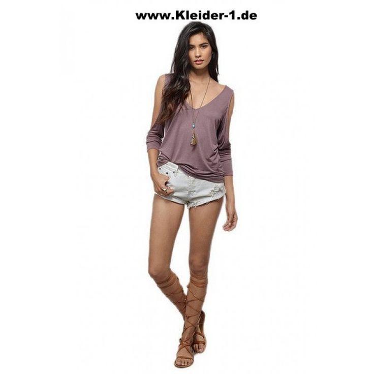 Langarm Damen Baumwolle Sommer Shirt Langarm Flieder